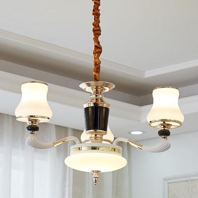 White Flared Suspension Pendant Light Modern 10/12/15-Light Opaline Glass Ceiling Chandelier
