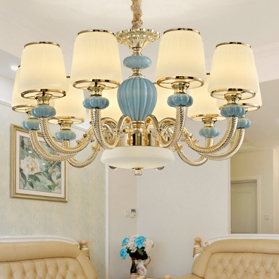 6/8/10 Lights Living Room Hanging Pendant Modern Blue Chandelier with Tapered Frost Glass Shade