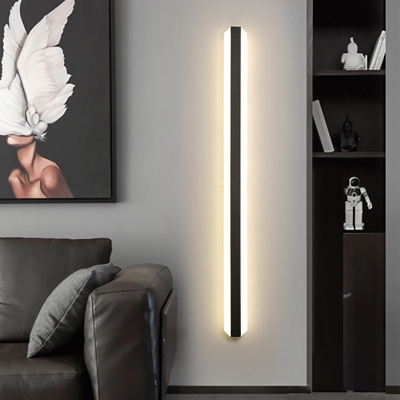 Black/White Bar Shaped Flush Wall Sconce Simplicity 16