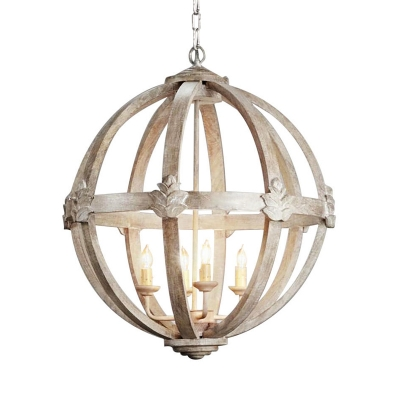 French Country Spherical Chandelier 4 Bulbs Wooden Ceiling Pendant Light in White/Distressed White