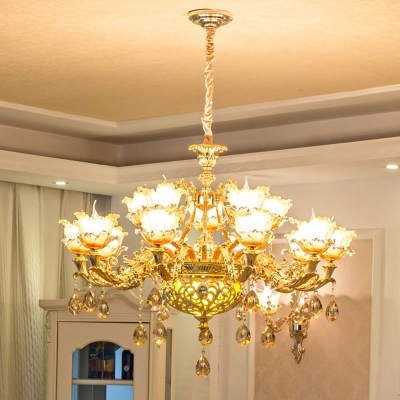 Gold 1/2/3-Tier Floral Chandelier Traditional Carved Amber Glass 15/18/24 Lights Living Room Wall Mount Lamp