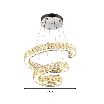 Modern Fashion Spiral Suspension Light Crystal LED Chandelier Lamp in Third Gear Light (Warm/White/Natural Light)