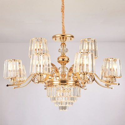 Modern Luxe 12/15/18 Bulbs Up Chandelier Gold Cylindrical Wall Mount Lamp with Prismatic Crystal Shade