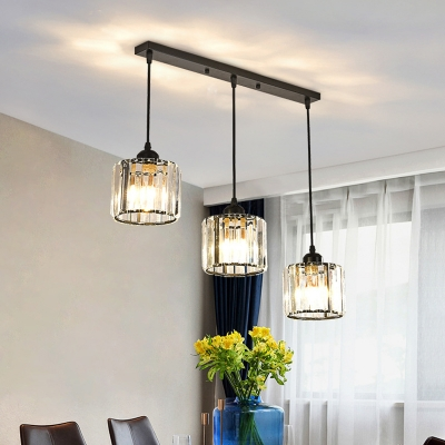 Prismatic Crystal Cylinder Cluster Pendant Postmodern 3 Bulbs Black/Gold Hanging Light with Round/Linear Canopy