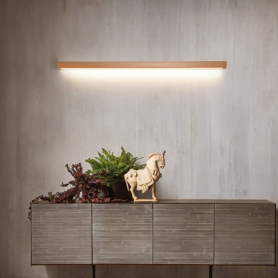 Wooden Linear Flush Wall Sconce Simplicity Acrylic Small/Medium/Large LED Vanity Wall Light for Bathroom