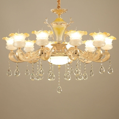 6/8/15 Lights Up Chandelier Contemporary Ruffle Frost Glass Ceiling Hang Lamp in Gold with Clear Crystal Drop