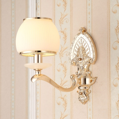 Carved/Opal Glass Gold Wall Lighting Dome/Flower 1/2-Head Traditional Sconce Light Fixture for Bedroom