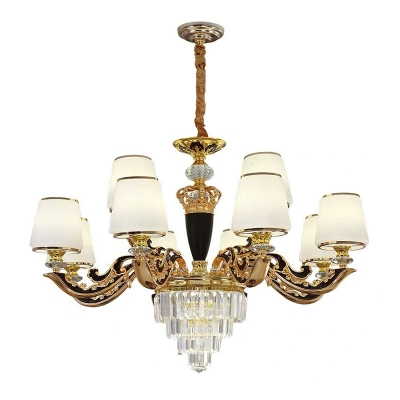 Gold Tapered Ceiling Pendant Lamp Traditional Cream Glass 6/8/12 Heads Dining Room Chandelier in Gold