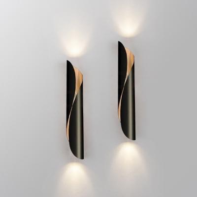 Spiral Aluminum Flush Mount Wall Light Postmodern 2-Light Black/White Wall Sconce Lighting for Living Room