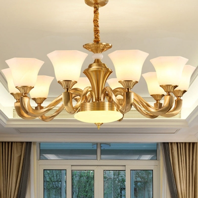 White Glass Brass Chandelier Light Flared Square 8/10/15 Bulbs Traditional Style Wall Mounted Light Fixture