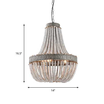 1/2/3-Head Wood Beading Pendant Lamp Country Style White Basket Dining Room Chandelier Light
