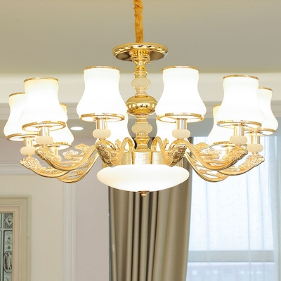 3/6/8 Heads Flared Chandelier Contemporary Gold Milky Glass Hanging Light Fixture with Carved Arm