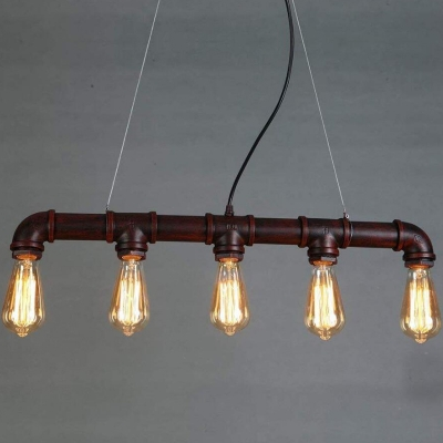 5 Bulbs Hanging Light Fixture Industrial Linear Iron Ceiling Pendant in Black/Bronze/Copper for Dining Room