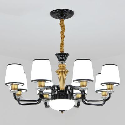 Black Bucket Shaped Ceiling Hang Light Modern 6/8/18 Lights Ivory Glass Chandelier Lamp