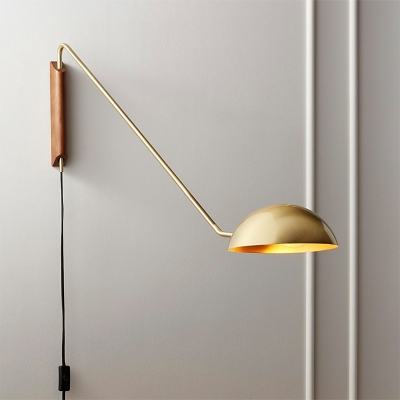 Black/Gold Bowl Wall Light Fixture Postmodern Single Metal Adjustable Reading Lamp with Plug-in Cord