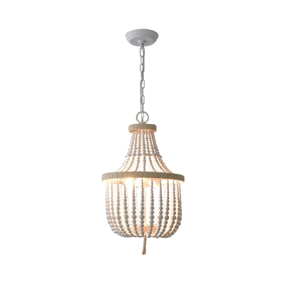Hand-Worked 2-Light Beaded Basket Hanging Lamp French Country White/Beige Wood Pendant Chandelier