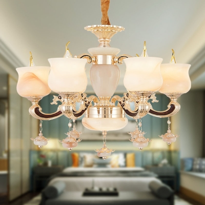 Hand-Worked Jade Candle Hanging Light Traditional 6/8/15 Bulbs Living Room Chandelier in Gold