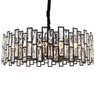 Rectangular-Cut Crystal Round Drop Lamp Postmodern Style 8/12/14-Light Black Ceiling Chandelier, 19.5