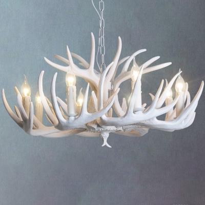 Resin Deer Horn Shaped Drop Lamp Lodge Style 8/9/12 Lights Bedroom Chandelier Lighting in White/Yellow