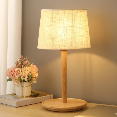 Tapered/Pleated Cone PVC Table Lamp Nordic 1 Head Wooden Night Stand Light with Tray Base for Bedroom