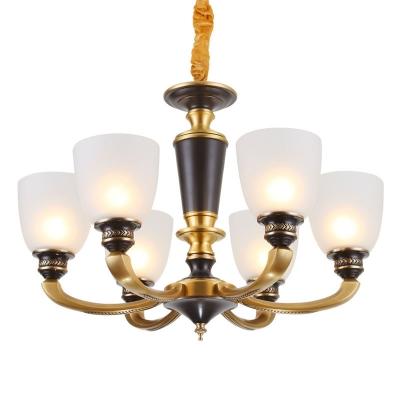 Black and Brass 6/8/15-Head Drop Lamp Retro Semi-Opaque Glass Bell Chandelier Light Fixture