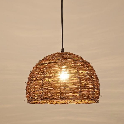Drum/Ellipse/Dome Pendant Lighting Farmhouse Natural Rattan Single Dining Room Hanging Lamp in Brown