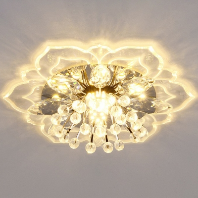 Flower Flush Mount Recessed Lighting Simplicity Crystal Clear LED Ceiling Fixture in Warm/White/Multi-Color Light
