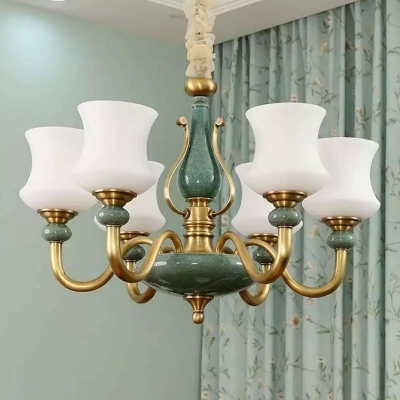 Opal Blown Glass Curve Chandelier Retro 6/8/12-Head Green and Brass Ceiling Hang Lamp for Dining Room
