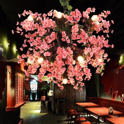 Pink 13-Bulb Chandelier Pendant Rustic Iron Sputnik Design Cherry Hanging Light Kit