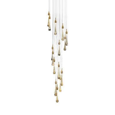 Stylish Modern Teardrop Pendant Lamp Clear Glass 10/15/20 Heads Loft House Multi Light Ceiling Light in Gold