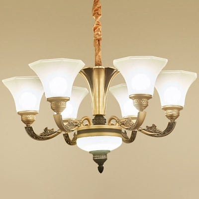 Wide Flared Ceiling Suspension Lamp Modern Semi-Opaque Glass 6/8/15 Lights Gold Chandelier