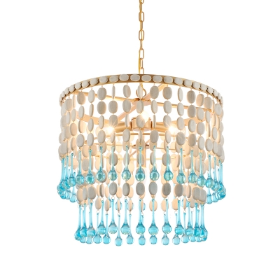 Wooden 1/2-Tiered Fringe Drop Pendant Lodge 4-Bulb Bedroom Ceiling Chandelier with Droplet in Blue-White