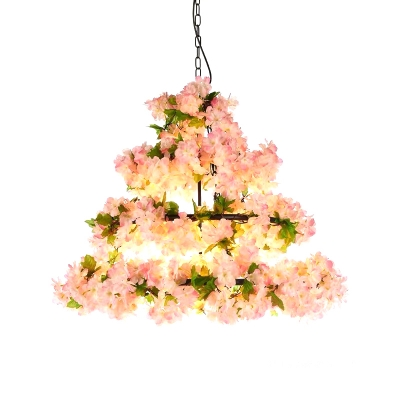 3/5-Tiered Cherry Blossom Iron Chandelier Rustic 5/10 Bulbs Bistro Hanging Ceiling Light in Light Pink