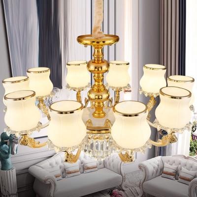 Bud Shaped Living Room Chandelier Opal Frosted Glass 6/8/10-Light Modern Ceiling Pendant Light in Gold