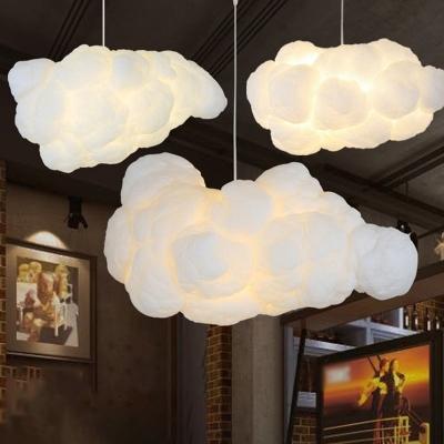 Cloud Commercial Pendant Lighting Artistic Cotton 1 Bulb Restaurant Hanging Lamp in White, 23.5