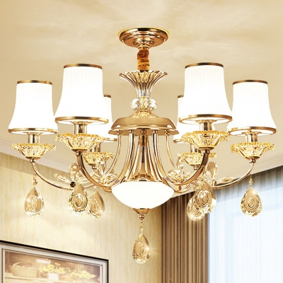 Flared Milk Ribbed Glass Hanging Lamp Traditional 6/10/15 Heads Bedroom Chandelier Light in Gold