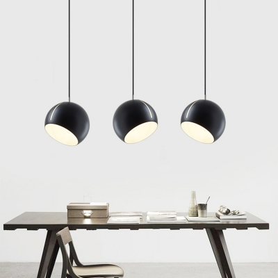 Nordic Dome Pendant Light Fixture Metal 1 Head Living Room Ceiling Hang Lamp with Slit in Black/Grey/Brass