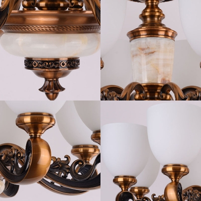 8/15/35-Light Bell Ceiling Suspension Lamp Traditional Antiqued Brass White Glass Chandelier
