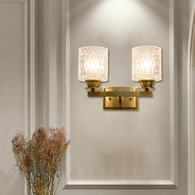 Cylindrical Lattice Glass Wall Light Post-Modern 1/2-Light Brass Finish Wall Sconce for Living Room