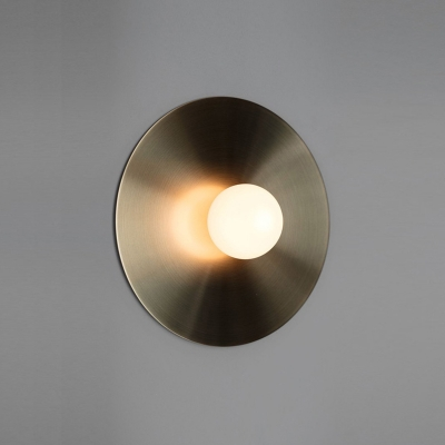 Disc Shaped Bedroom Wall Light Metal 1 Head Postmodern Sconce Light in Gold with Orb White Glass Shade