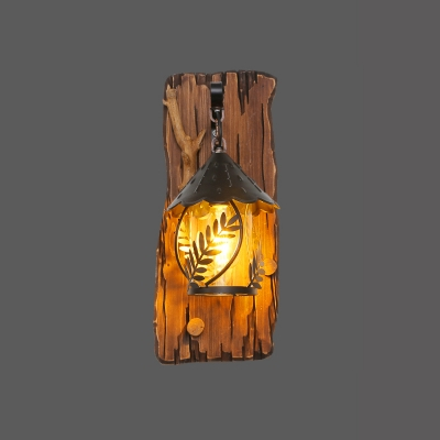 Farmhouse Hut Shaped Wall Light Single-Bulb Clear Glass Sconce Lamp with Wood Backplate in Brown