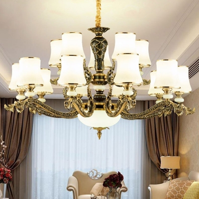 Flared 1/2-Tier Chandelier Contemporary White Glass 6/8/15-Head Bedroom Ceiling Hang Lamp in Brass