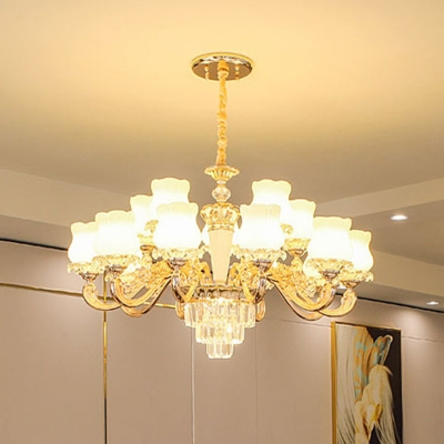 Flowerbud Opaque Glass Chandelier Contemporary 10/12/18 Heads Gold Wall Light Fixture with Tiered Crystal Bottom