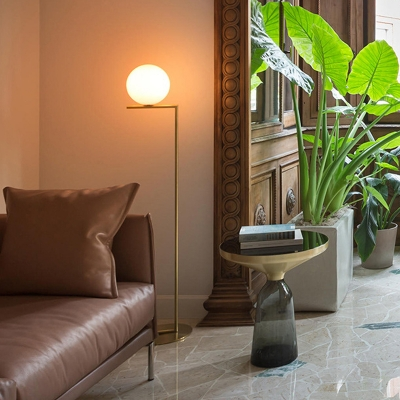 Global Opaline Glass Floor Lamp Postmodern 1-Light Gold Standing Light with Right Angle Pole, Small/Medium/Large