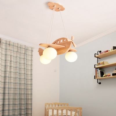 Helicopter Chandelier Pendant Kids Wooden 3 Lights Bedroom Hanging Lamp with Ball Cream Glass Shade