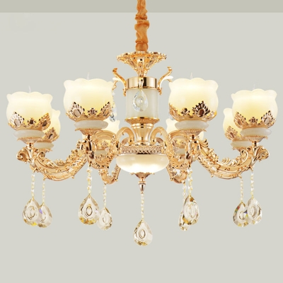 Jade Flower Chandelier Lamp Vintage 1/2/15-Light Living Room Wall Mounted Light with Crystal Drop in Gold