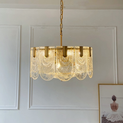 Postmodern 1/2-Tier Scalloped Chandelier 9/12 Bulbs Clear Textured Glass Small/Medium/Large Pendant Light in Brass