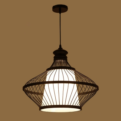 Teardrop Tearoom Ceiling Hang Lamp Bamboo 1 Bulb Asian Suspension Pendant in Black with Cone Shade Inner