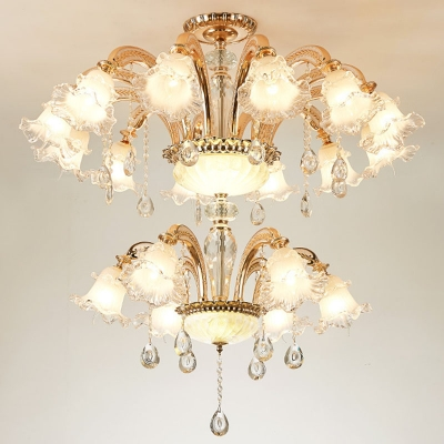 Clear and Frost Glass Ruffled Chandelier Traditional 10/12/18-Head Dining Room Wall Mounted Light in Gold