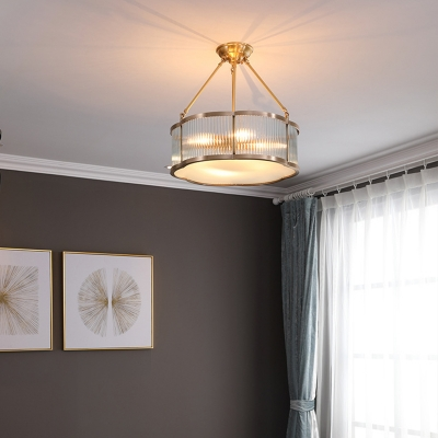 Clear Ribbed Glass Flower Ceiling Pendant Antiqued 4 Heads Dining Room Chandelier in Gold